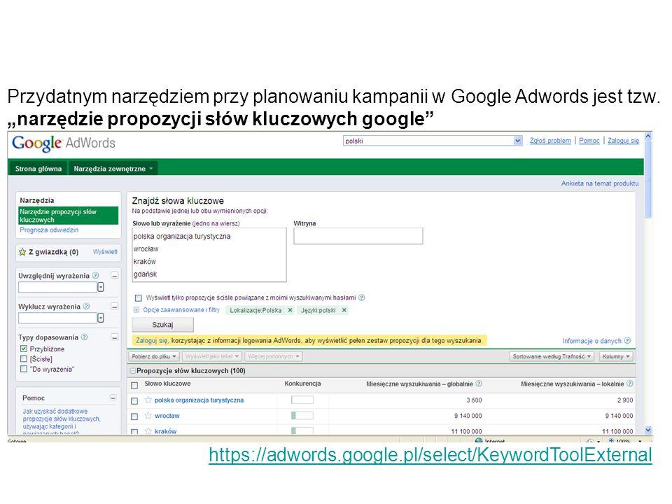 Przydatnym narzędziem przy planowaniu kampanii w Google Adwords jest tzw. narzędzie propozycji słów kluczowych google https://adwords.google.pl/select