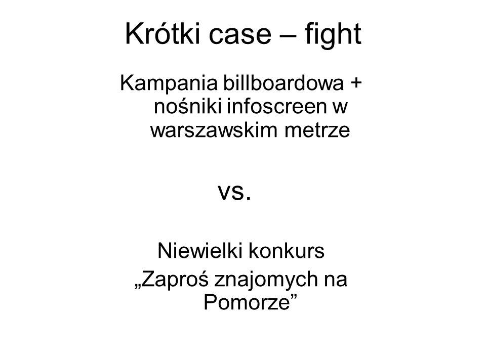 Krótki case – fight Kampania billboardowa + nośniki infoscreen w warszawskim metrze vs. Niewielki konkurs Zaproś znajomych na Pomorze