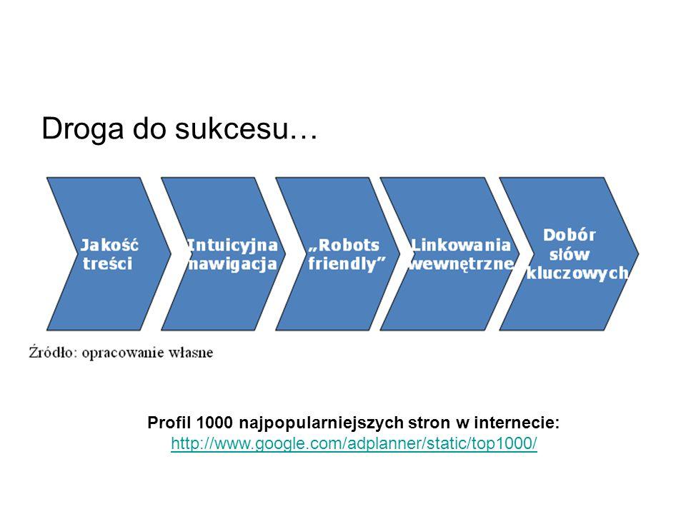 Droga do sukcesu… Profil 1000 najpopularniejszych stron w internecie: http://www.google.com/adplanner/static/top1000/