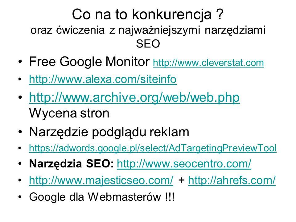 Co na to konkurencja ? oraz ćwiczenia z najważniejszymi narzędziami SEO Free Google Monitor http://www.cleverstat.com http://www.cleverstat.com http:/