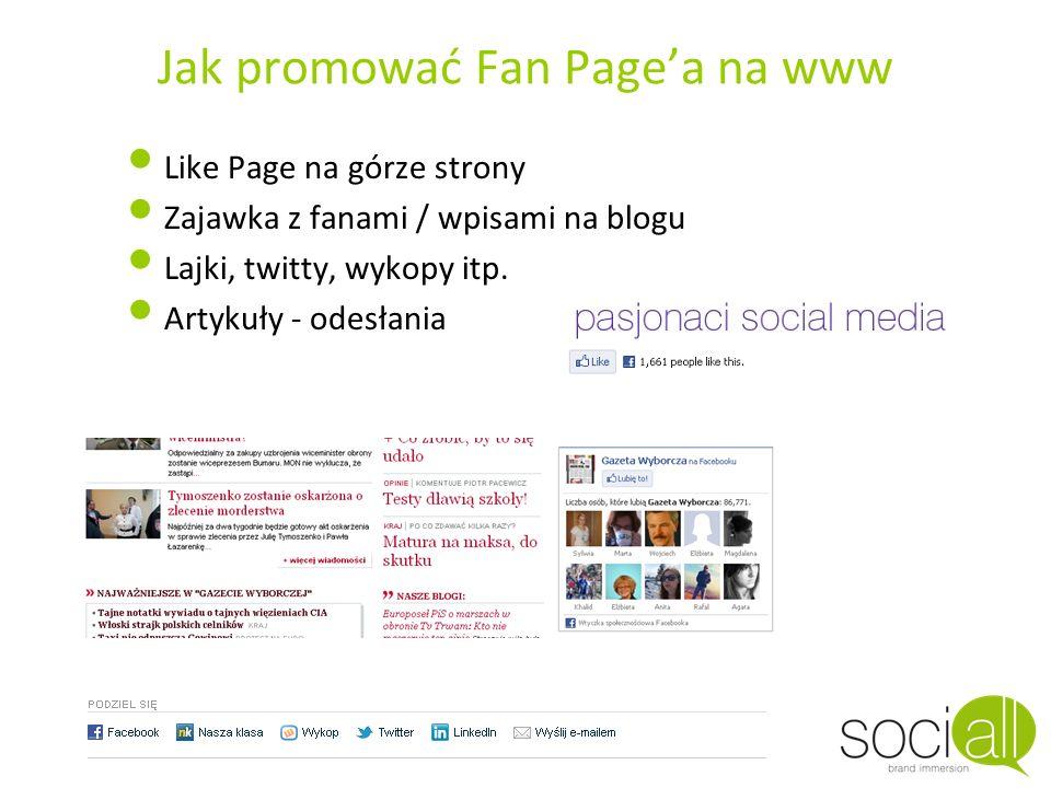 Jak promować Fan Pagea na www Like Page na górze strony Zajawka z fanami / wpisami na blogu Lajki, twitty, wykopy itp. Artykuły - odesłania