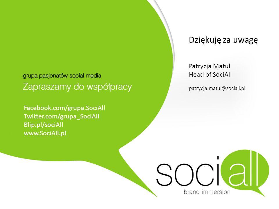 Dziękuję za uwagę Patrycja Matul Head of SociAll patrycja.matul@sociall.pl Facebook.com/grupa.SociAll Twitter.com/grupa_SociAll Blip.pl/sociAll www.So