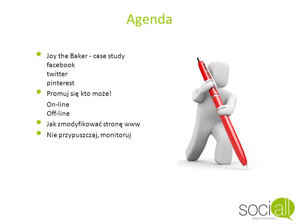 Agenda Joy the Baker - case study facebook twitter pinterest Promuj się kto może! On-line Off-line Jak zmodyfikować stronę www Nie przypuszczaj, monit
