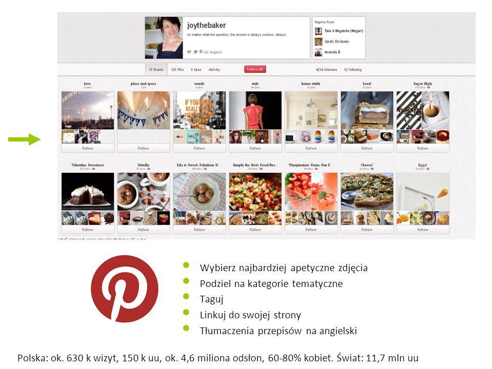 Wybierz najbardziej apetyczne zdjęcia Podziel na kategorie tematyczne Taguj Linkuj do swojej strony Tłumaczenia przepisów na angielski Polska: ok. 630