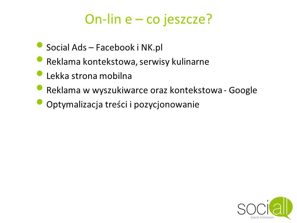 On-lin e – co jeszcze? Social Ads – Facebook i NK.pl Reklama kontekstowa, serwisy kulinarne Lekka strona mobilna Reklama w wyszukiwarce oraz konteksto