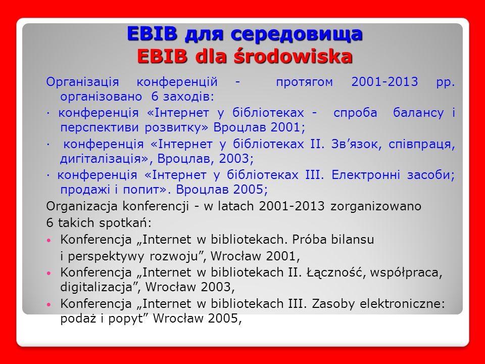 EBIB для середовища EBIB dla środowiska Організація конференцій - протягом 2001-2013 рр.