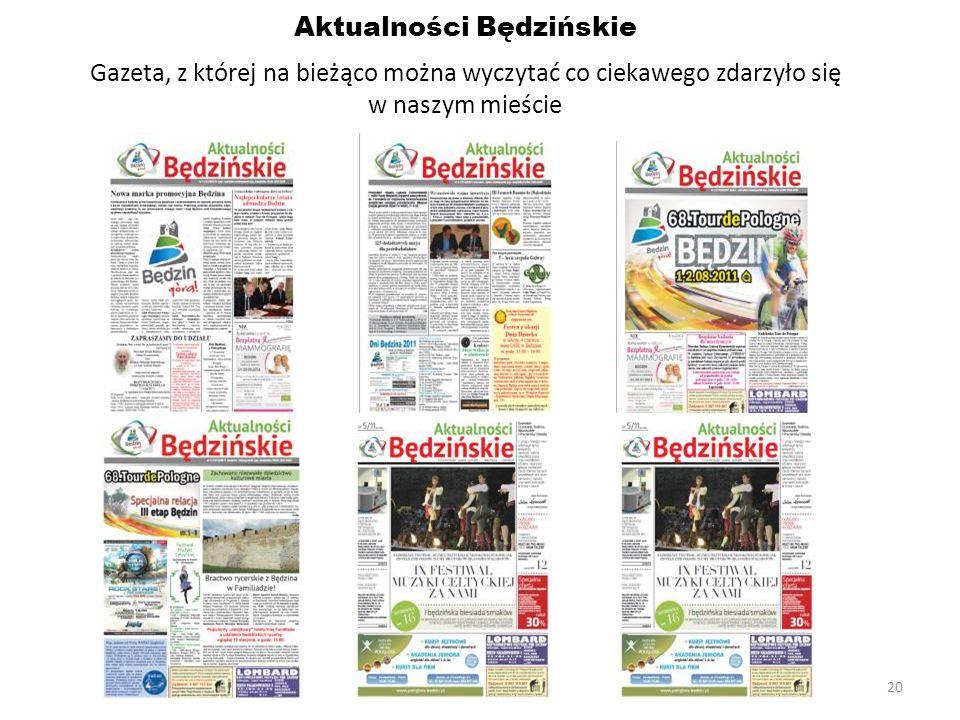 20 Aktualności Będzińskie Gazeta, z której na bieżąco można wyczytać co ciekawego zdarzyło się w naszym mieście