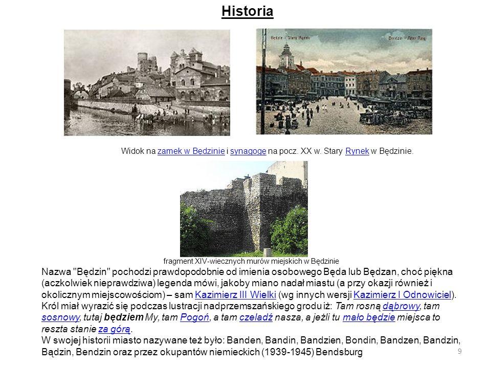 Historia Widok na zamek w Będzinie i synagogę na pocz. XX w. Stary Rynek w Będzinie.zamek w BędziniesynagogęRynek fragment XIV-wiecznych murów miejski