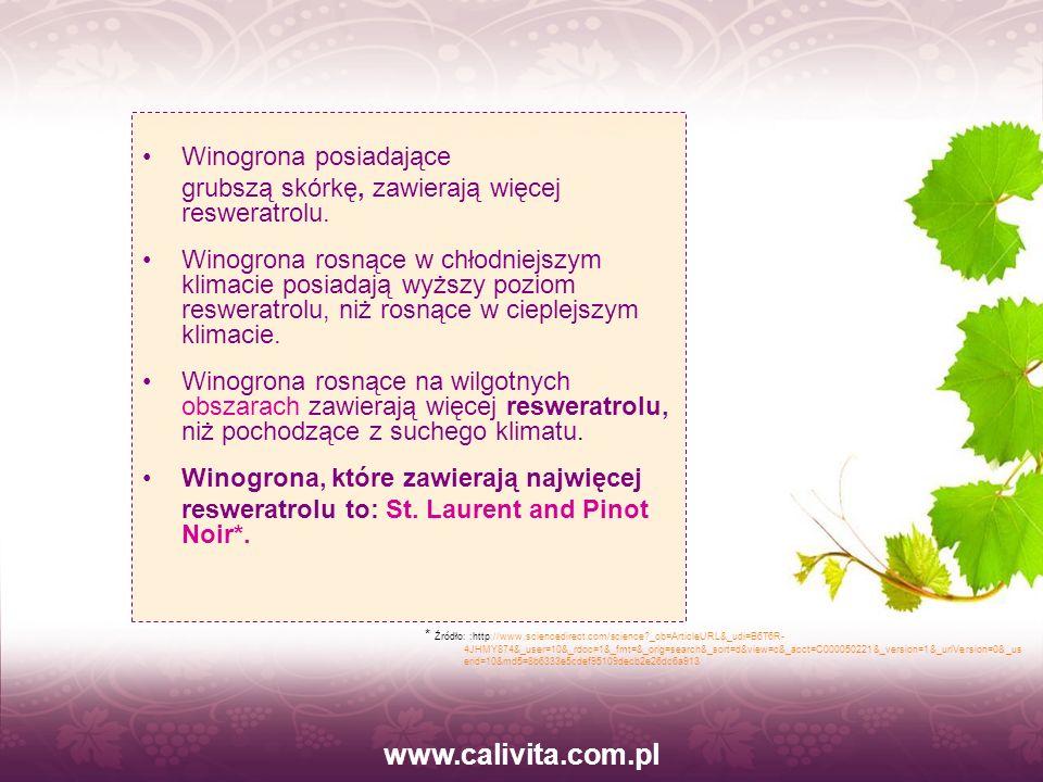 www.calivita.com.pl Winogrona posiadające grubszą skórkę, zawierają więcej resweratrolu. Winogrona rosnące w chłodniejszym klimacie posiadają wyższy p