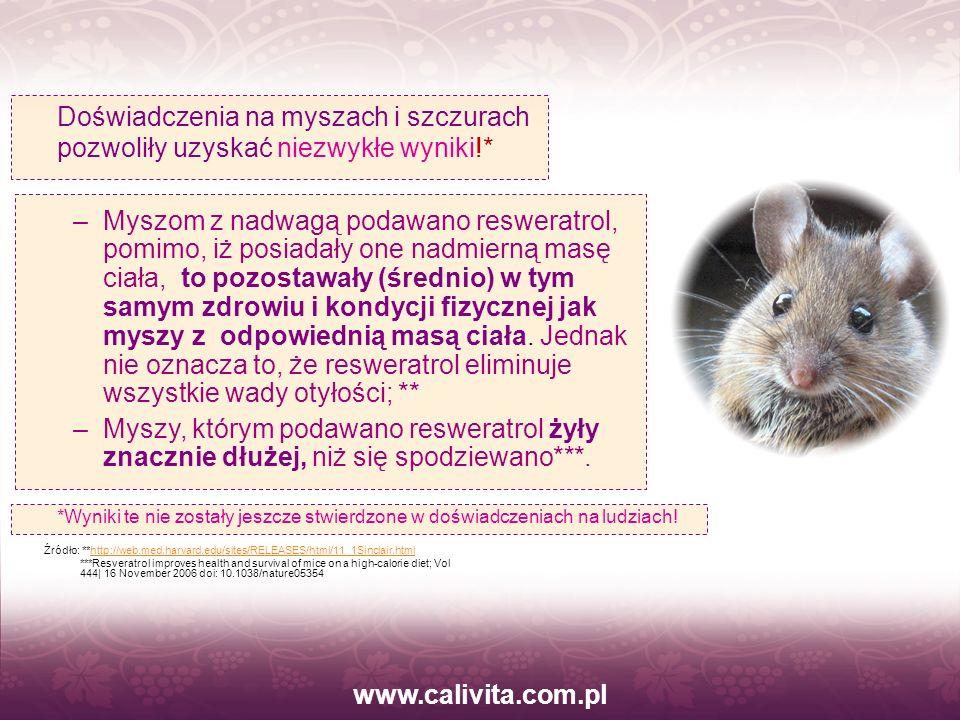 www.calivita.com.pl –Myszom z nadwagą podawano resweratrol, pomimo, iż posiadały one nadmierną masę ciała, to pozostawały (średnio) w tym samym zdrowi
