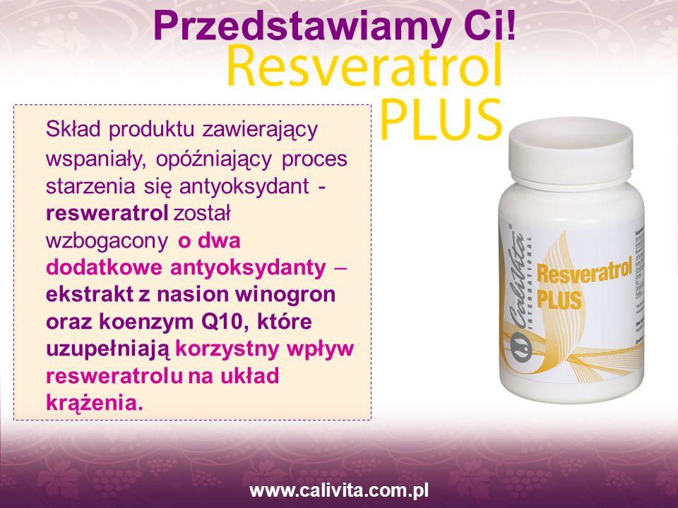 www.calivita.com.pl Skład produktu zawierający wspaniały, opóźniający proces starzenia się antyoksydant - resweratrol został wzbogacony o dwa dodatkow