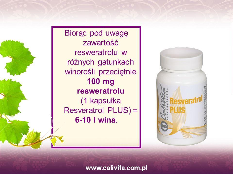 www.calivita.com.pl Biorąc pod uwagę zawartość resweratrolu w różnych gatunkach winorośli przeciętnie 100 mg resweratrolu (1 kapsułka Resveratrol PLUS