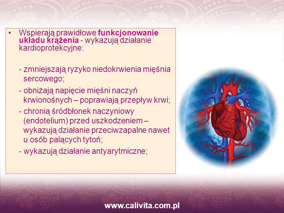 www.calivita.com.pl Wspierają prawidłowe funkcjonowanie układu krążenia - wykazują działanie kardioprotekcyjne: - zmniejszają ryzyko niedokrwienia mię