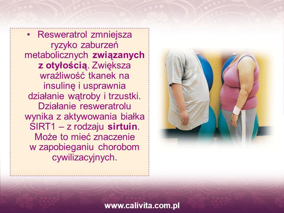 www.calivita.com.pl Resweratrol zmniejsza ryzyko zaburzeń metabolicznych związanych z otyłością. Zwiększa wrażliwość tkanek na insulinę i usprawnia dz