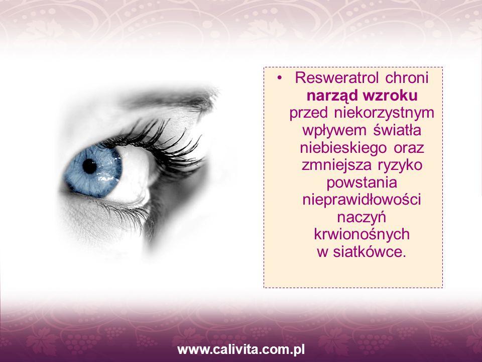www.calivita.com.pl Resweratrol chroni narząd wzroku przed niekorzystnym wpływem światła niebieskiego oraz zmniejsza ryzyko powstania nieprawidłowości