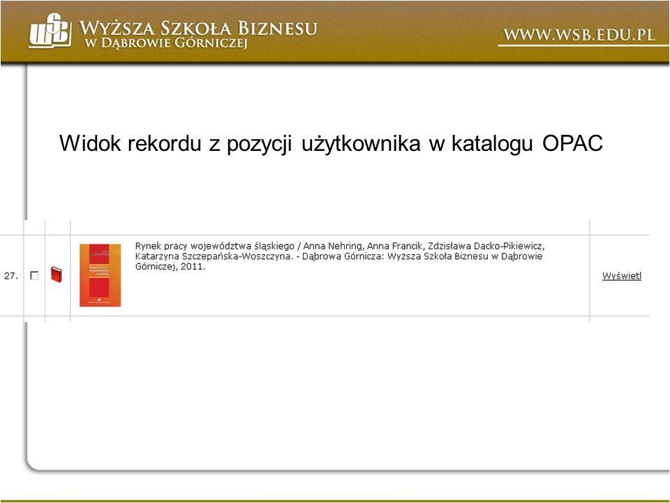 Widok rekordu z pozycji użytkownika w katalogu OPAC