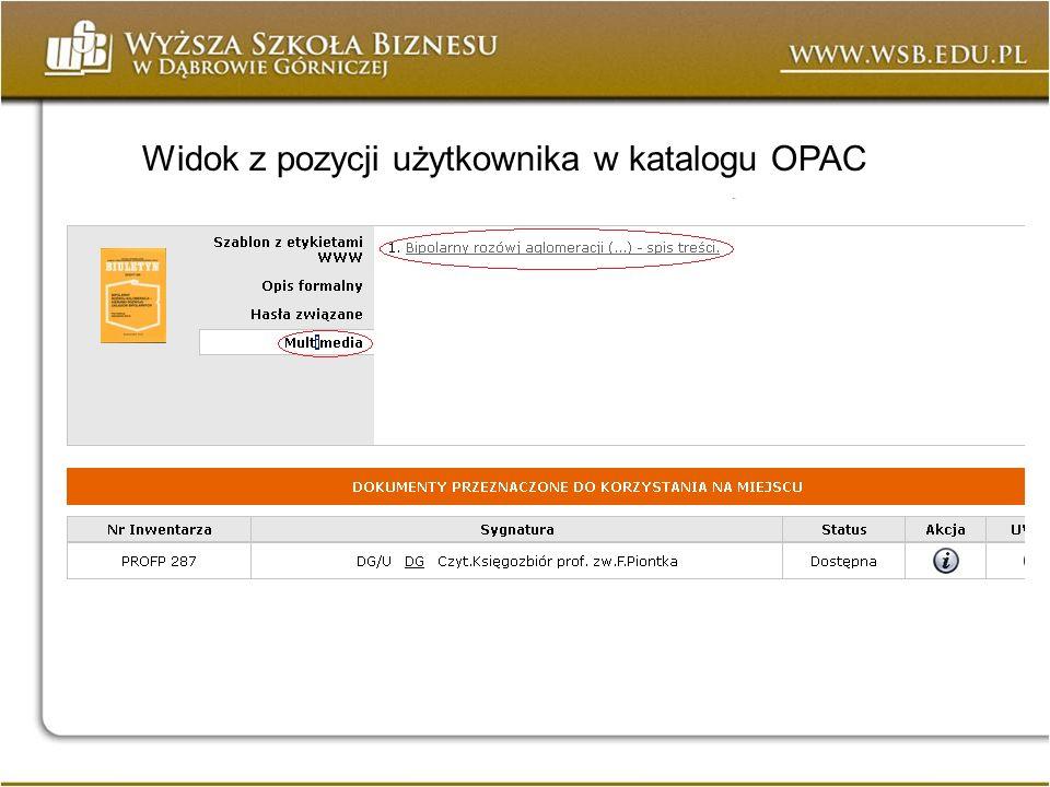 Widok z pozycji użytkownika w katalogu OPAC