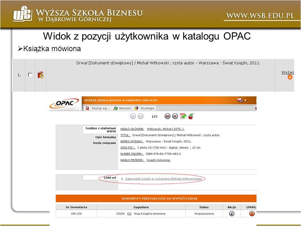 Widok z pozycji użytkownika w katalogu OPAC Książka mówiona