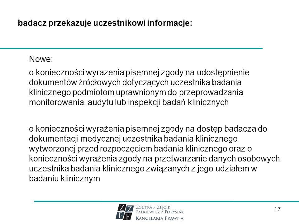 badacz przekazuje uczestnikowi informacje: Nowe: o konieczności wyrażenia pisemnej zgody na udostępnienie dokumentów źródłowych dotyczących uczestnika