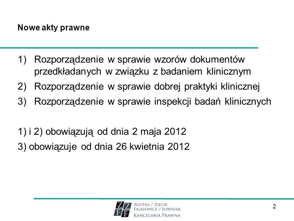 Nowe akty prawne 1)Rozporządzenie w sprawie wzorów dokumentów przedkładanych w związku z badaniem klinicznym 2)Rozporządzenie w sprawie dobrej praktyk