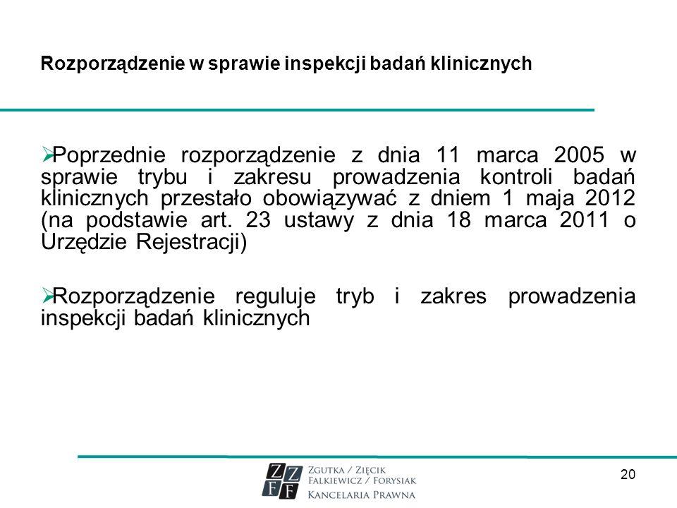 Rozporządzenie w sprawie inspekcji badań klinicznych Poprzednie rozporządzenie z dnia 11 marca 2005 w sprawie trybu i zakresu prowadzenia kontroli bad
