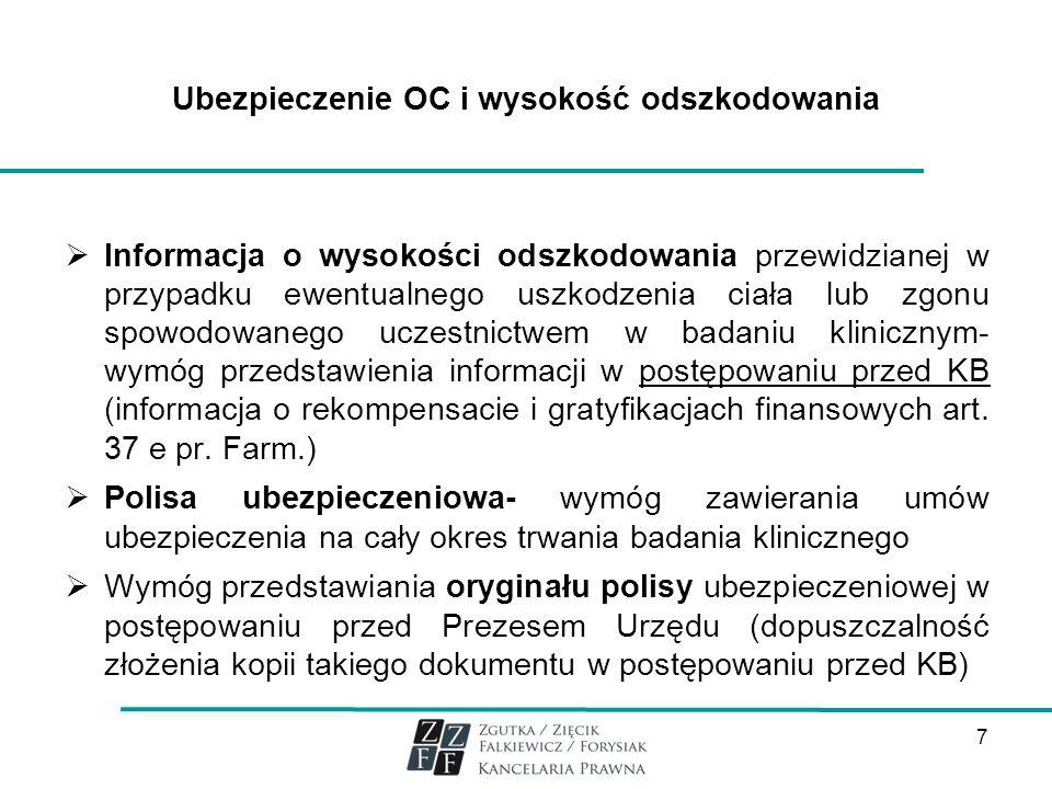Ubezpieczenie OC i wysokość odszkodowania Informacja o wysokości odszkodowania przewidzianej w przypadku ewentualnego uszkodzenia ciała lub zgonu spow