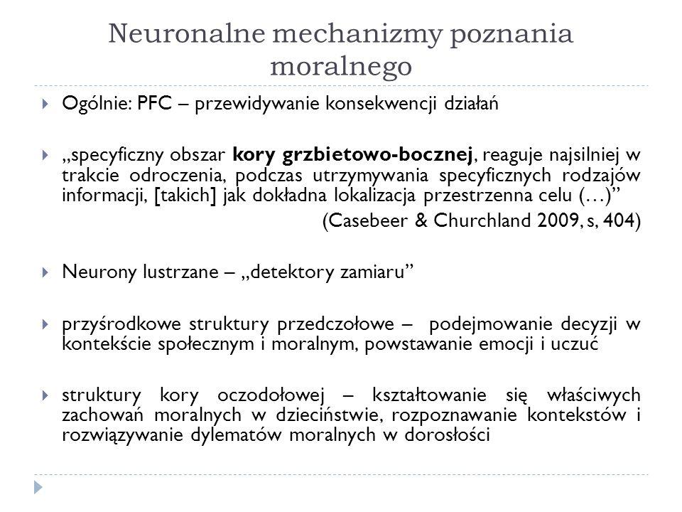Neuronalne mechanizmy poznania moralnego Ogólnie: PFC – przewidywanie konsekwencji działań specyficzny obszar kory grzbietowo-bocznej, reaguje najsiln