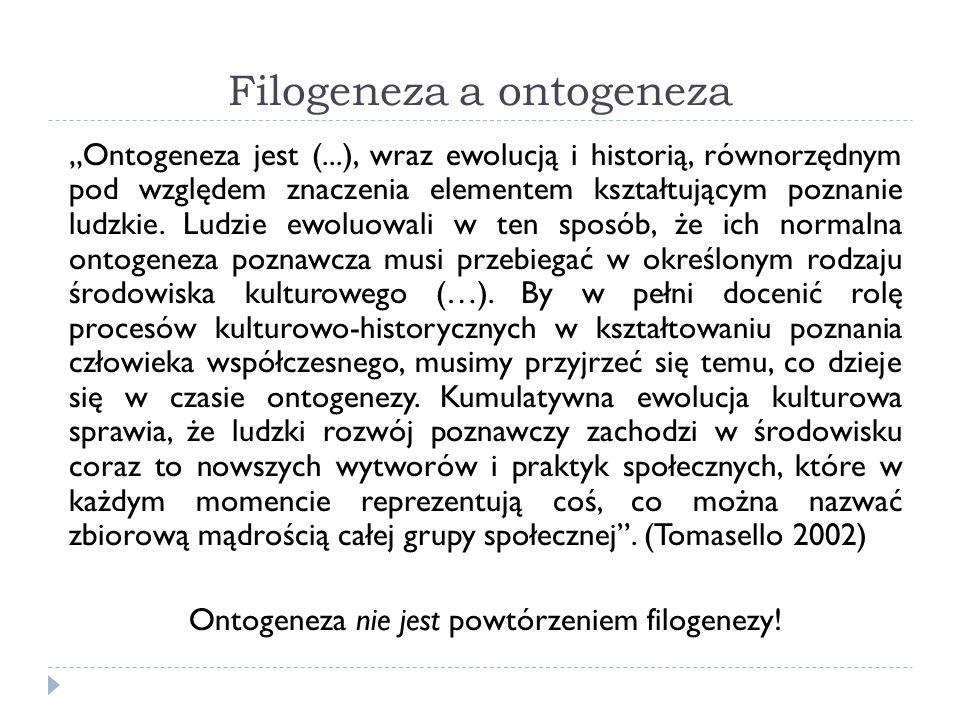 Filogeneza a ontogeneza Ontogeneza jest (...), wraz ewolucją i historią, równorzędnym pod względem znaczenia elementem kształtującym poznanie ludzkie.