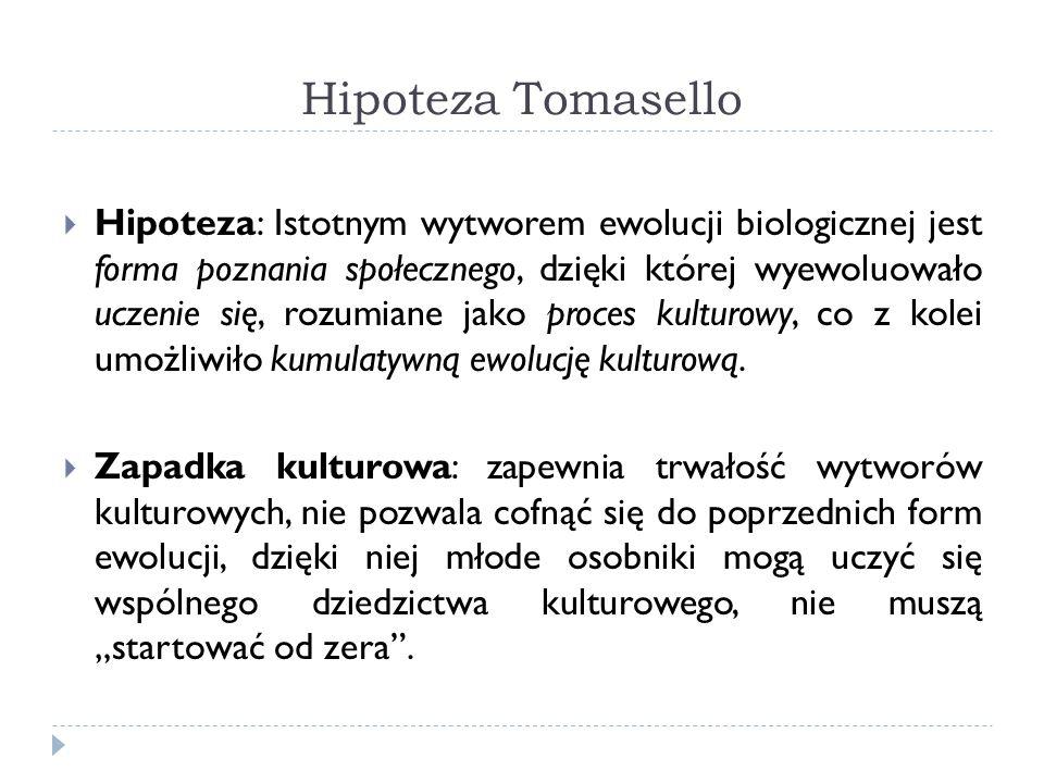 Hipoteza Tomasello Hipoteza: Istotnym wytworem ewolucji biologicznej jest forma poznania społecznego, dzięki której wyewoluowało uczenie się, rozumian