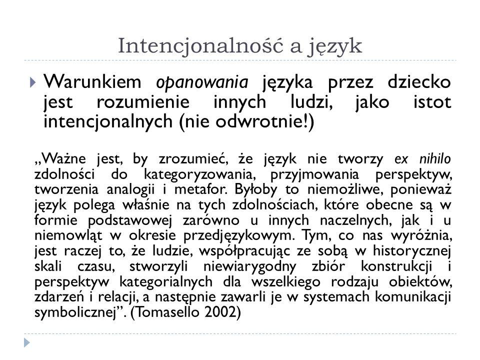 Intencjonalność a język Warunkiem opanowania języka przez dziecko jest rozumienie innych ludzi, jako istot intencjonalnych (nie odwrotnie!) Ważne jest