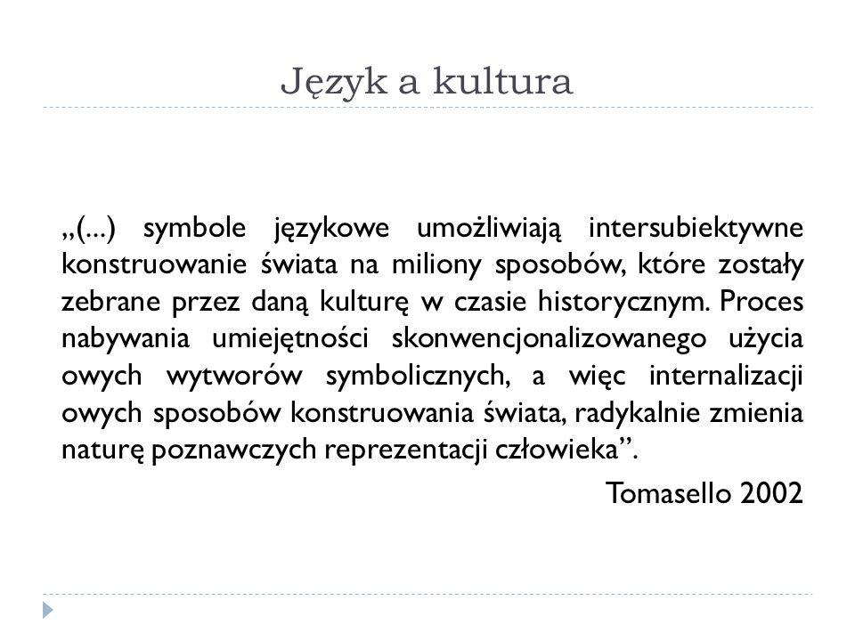 Język a kultura (...) symbole językowe umożliwiają intersubiektywne konstruowanie świata na miliony sposobów, które zostały zebrane przez daną kulturę