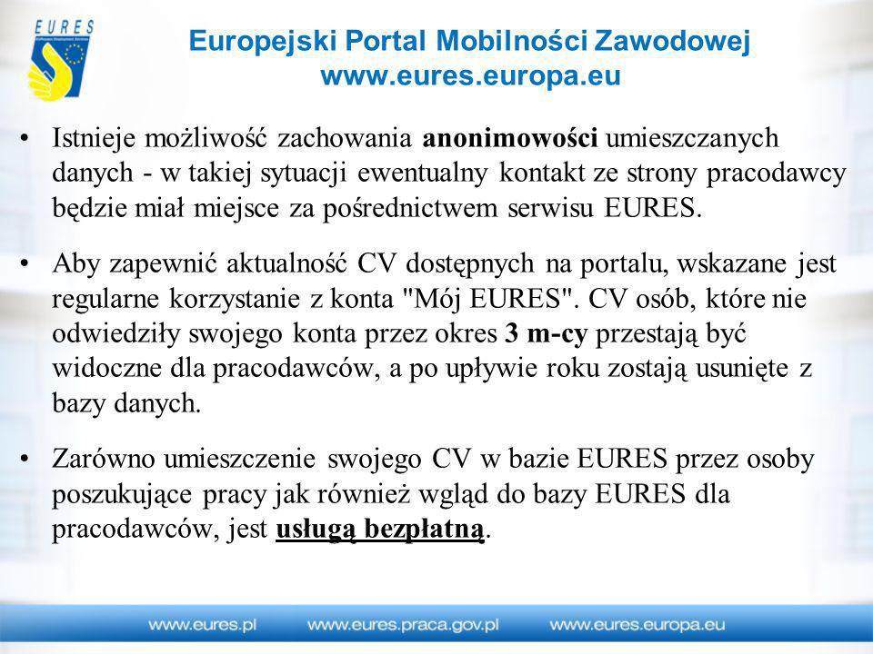 Europejski Portal Mobilności Zawodowej www.eures.europa.eu Istnieje możliwość zachowania anonimowości umieszczanych danych - w takiej sytuacji ewentua