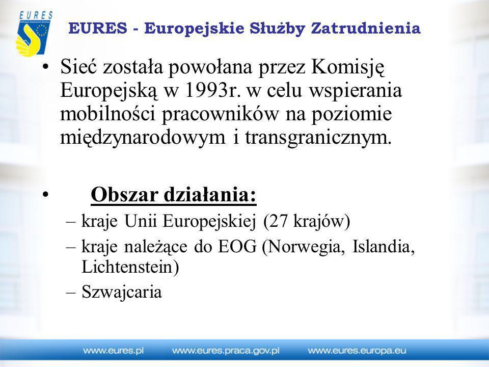 EURES - Europejskie Służby Zatrudnienia Zadania sieci EURES Usługi międzynarodowego pośrednictwa pracy Oferty otwarte Oferty zamknięte Informowanie o warunkach pracy i życia w krajach UE Informowanie o warunkach pracy i życia w Polsce Organizacja rekrutacji