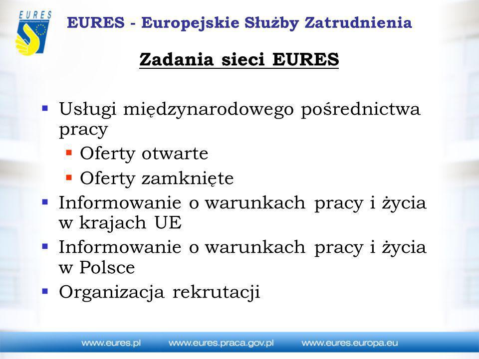 EURES - Europejskie Służby Zatrudnienia Zadania sieci EURES Usługi międzynarodowego pośrednictwa pracy Oferty otwarte Oferty zamknięte Informowanie o