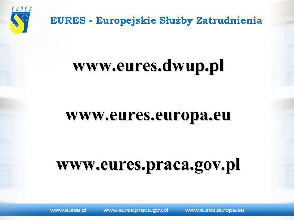 EURES - Europejskie Służby Zatrudnienia www.eures.dwup.pl www.eures.europa.eu www.eures.praca.gov.pl