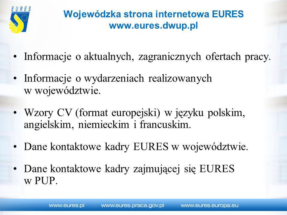 Informacje o aktualnych, zagranicznych ofertach pracy. Informacje o wydarzeniach realizowanych w województwie. Wzory CV (format europejski) w języku p