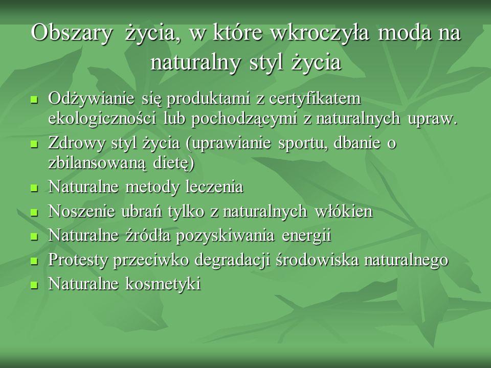 Obszary życia, w które wkroczyła moda na naturalny styl życia Odżywianie się produktami z certyfikatem ekologiczności lub pochodzącymi z naturalnych u