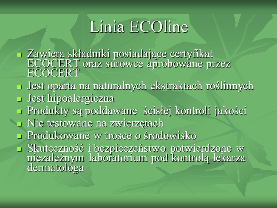 Linia ECOline Zawiera składniki posiadające certyfikat ECOCERT oraz surowce aprobowane przez ECOCERT Zawiera składniki posiadające certyfikat ECOCERT