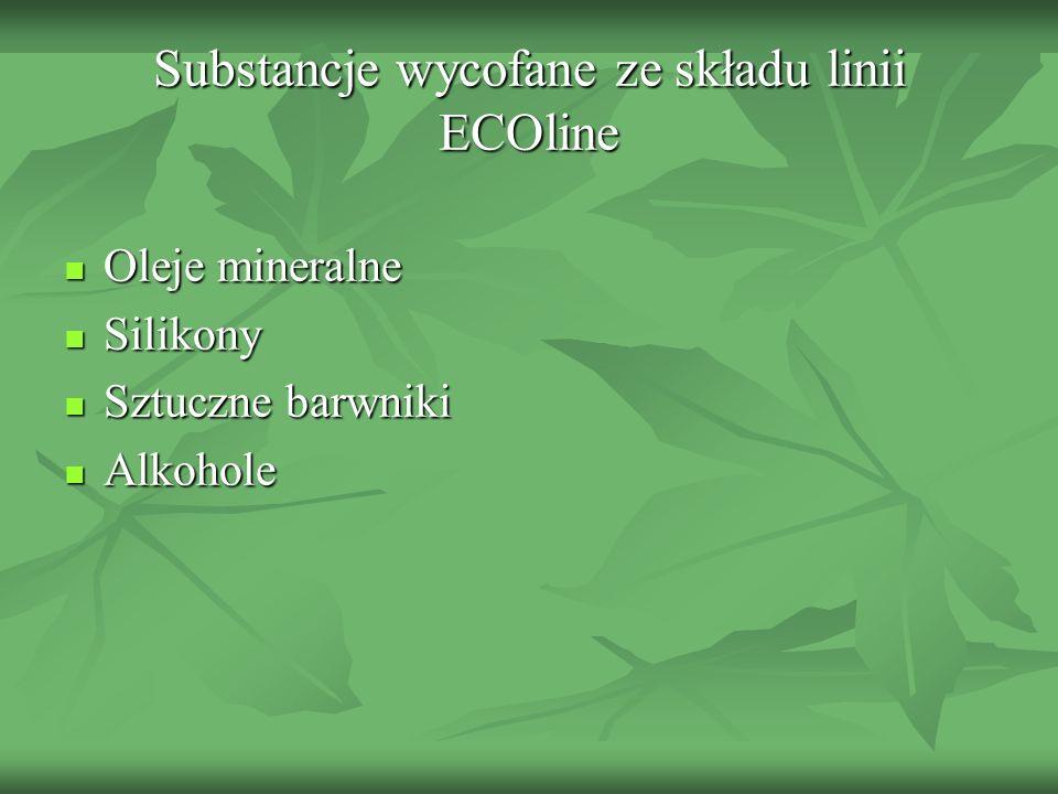 Substancje wycofane ze składu linii ECOline Oleje mineralne Oleje mineralne Silikony Silikony Sztuczne barwniki Sztuczne barwniki Alkohole Alkohole