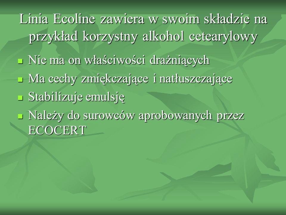 Linia Ecoline zawiera w swoim składzie na przykład korzystny alkohol cetearylowy Nie ma on właściwości drażniących Nie ma on właściwości drażniących M