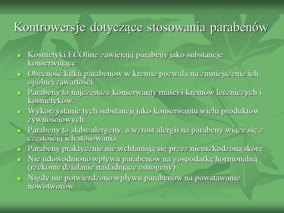 Kontrowersje dotyczące stosowania parabenów Kosmetyki ECOline zawierają parabeny jako substancje konserwujące Kosmetyki ECOline zawierają parabeny jak