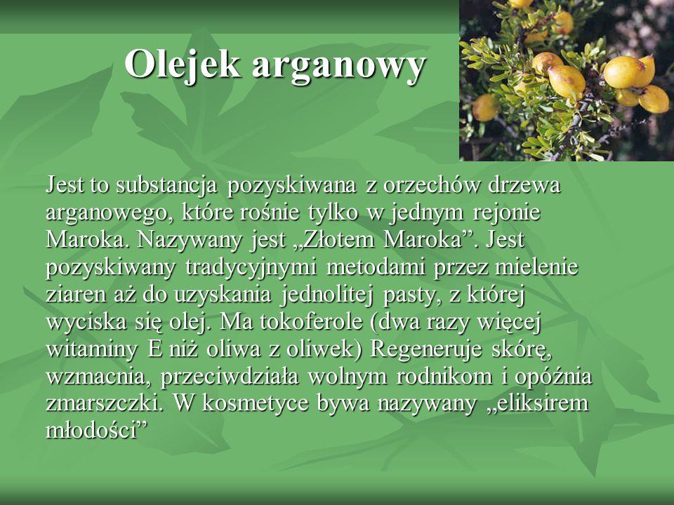 Jest to substancja pozyskiwana z orzechów drzewa arganowego, które rośnie tylko w jednym rejonie Maroka. Nazywany jest Złotem Maroka. Jest pozyskiwany