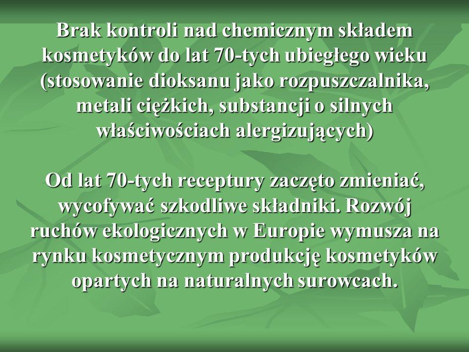 Brak kontroli nad chemicznym składem kosmetyków do lat 70-tych ubiegłego wieku (stosowanie dioksanu jako rozpuszczalnika, metali ciężkich, substancji