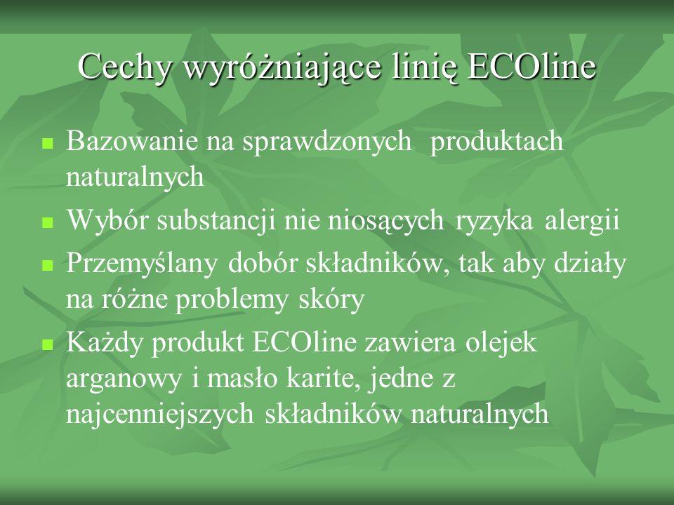 Cechy wyróżniające linię ECOline Bazowanie na sprawdzonych produktach naturalnych Wybór substancji nie niosących ryzyka alergii Przemyślany dobór skła
