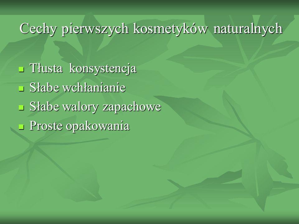 Cechy pierwszych kosmetyków naturalnych Tłusta konsystencja Tłusta konsystencja Słabe wchłanianie Słabe wchłanianie Słabe walory zapachowe Słabe walor