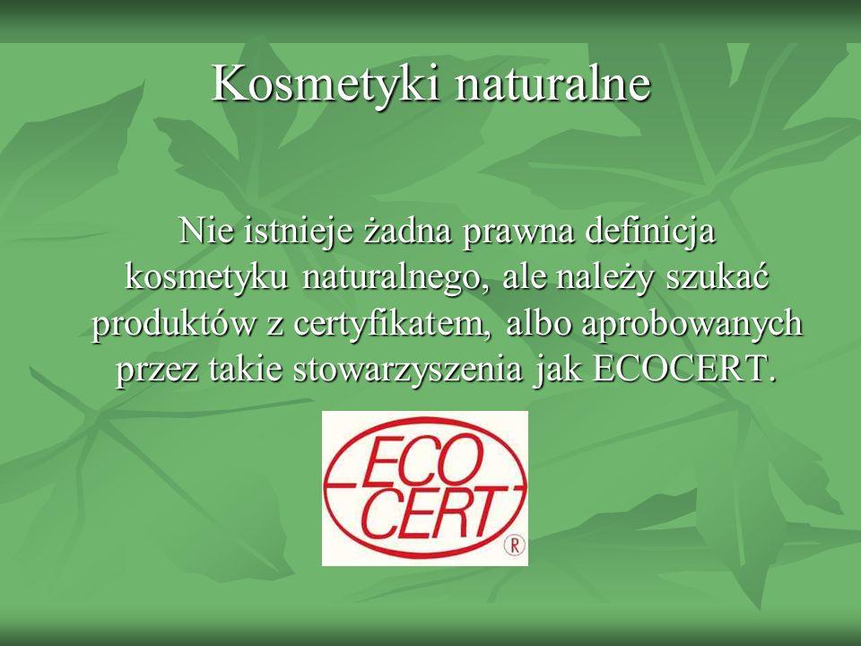 Działania niepożądane u osób stosujących zwykłe kosmetyki Rozwój alergii kontaktowych (wysoka cena kosmetyku nie jest żadną gwarancją niealergizującego działania) Rozwój alergii kontaktowych (wysoka cena kosmetyku nie jest żadną gwarancją niealergizującego działania) Nadwrażliwość na niektóre składowe kosmetyków (na przykład na sztuczne substancje barwiące) Nadwrażliwość na niektóre składowe kosmetyków (na przykład na sztuczne substancje barwiące) Przesuszenie i podrażnienia skóry wywołane kosmetykami Przesuszenie i podrażnienia skóry wywołane kosmetykami Fotouczulające działanie kosmetyków Fotouczulające działanie kosmetyków Prowokowanie zmian trądzikowych (tak zwany trądzik kosmetyczny) Prowokowanie zmian trądzikowych (tak zwany trądzik kosmetyczny) Przyspieszenie starzenia skóry (oleje mineralne) Przyspieszenie starzenia skóry (oleje mineralne)