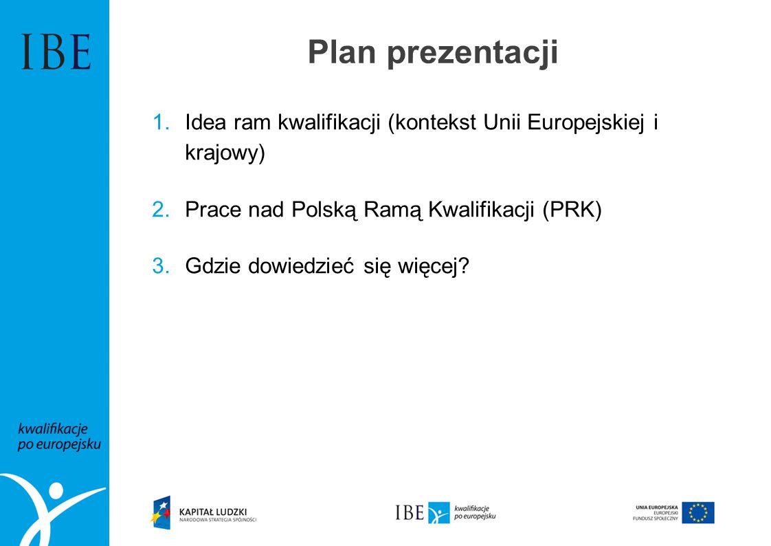 Plan prezentacji 1.Idea ram kwalifikacji (kontekst Unii Europejskiej i krajowy) 2.Prace nad Polską Ramą Kwalifikacji (PRK) 3.Gdzie dowiedzieć się więc