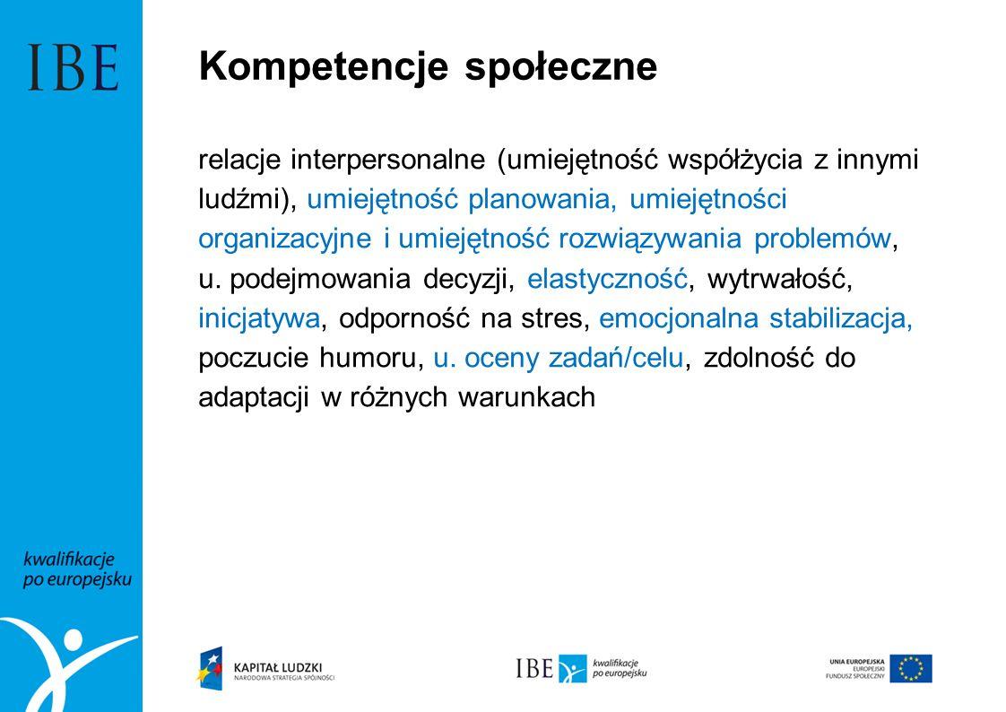Kompetencje społeczne relacje interpersonalne (umiejętność współżycia z innymi ludźmi), umiejętność planowania, umiejętności organizacyjne i umiejętno