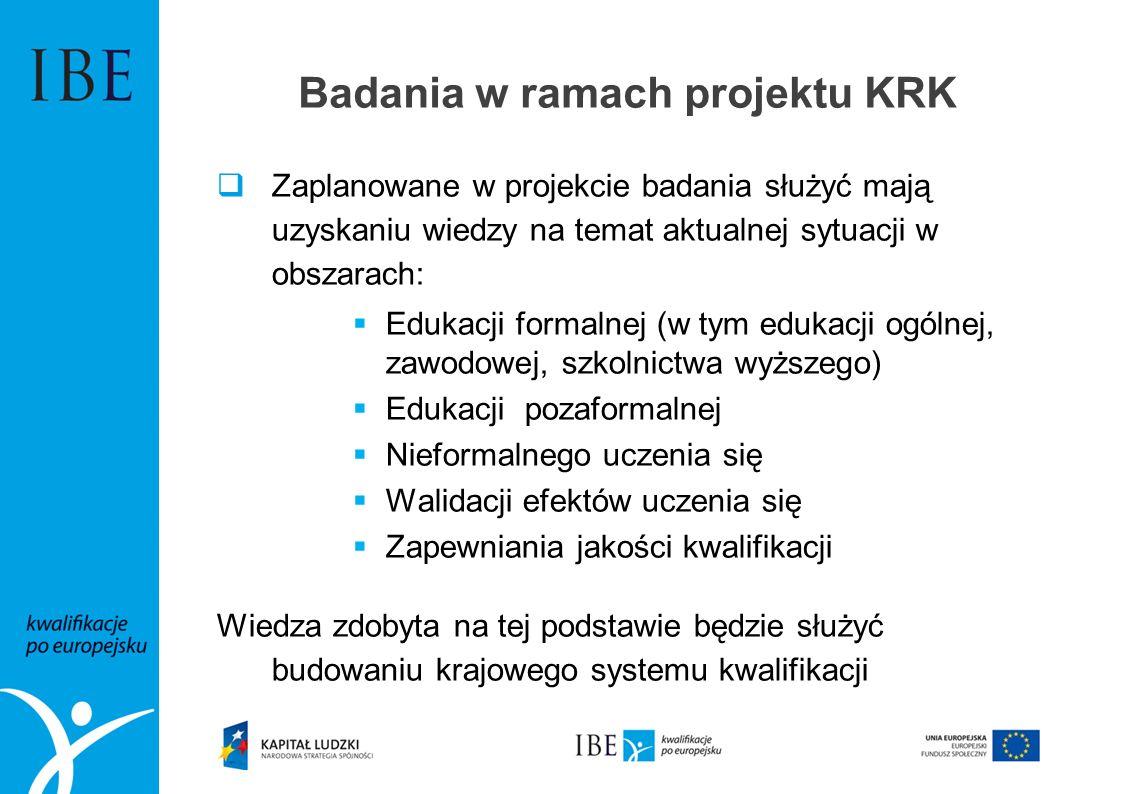 Badania w ramach projektu KRK Zaplanowane w projekcie badania służyć mają uzyskaniu wiedzy na temat aktualnej sytuacji w obszarach: Edukacji formalnej