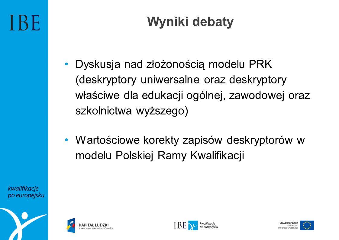 Wyniki debaty Dyskusja nad złożonością modelu PRK (deskryptory uniwersalne oraz deskryptory właściwe dla edukacji ogólnej, zawodowej oraz szkolnictwa